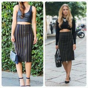 Zara Woman Stripe Pencil Skirt Sz XS